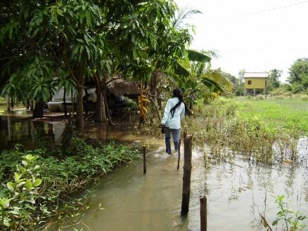 家まで案内してもらいました。だいぶ水は引いた方ですが,それでもまだ周辺は冠水したままです。