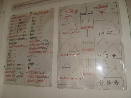 右側が数学「合同条件および相似条件の対応表」と,ちょっと見にくいですが左側が物理「いろいろな物質の熱量について」